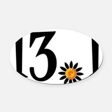 13.1 with orange flower Oval Car Magnet