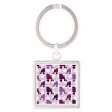 poodle_pattern Square Keychain