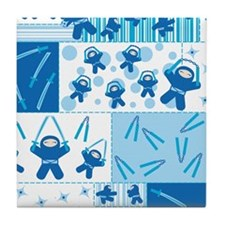 blue_ninja_fabric Tile Coaster