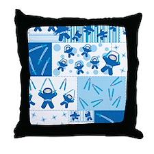 blue_ninja_fabric Throw Pillow