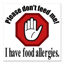 "Food Allergies 2 Square Car Magnet 3"" x 3"""