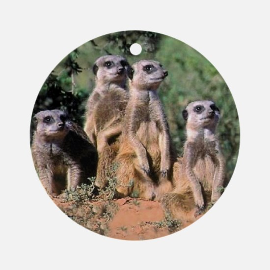 MEERKAT FAMILY PORTRAIT stadium bla Round Ornament