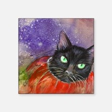 "Halloween Kitty in a Pumpki Square Sticker 3"" x 3"""