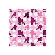 "poodle_pattern_pink Square Sticker 3"" x 3"""
