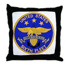 SIXTH FLEET US Navy Military PATCH Throw Pillow