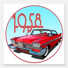 """1958 Plymouth Belvedere- Square Car Magnet 3"""" x 3"""""""