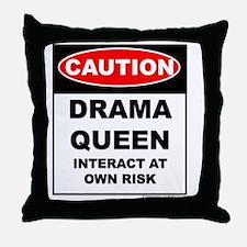 CAUTION Drama Queen Throw Pillow