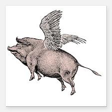 "Flying Pig Square Car Magnet 3"" x 3"""