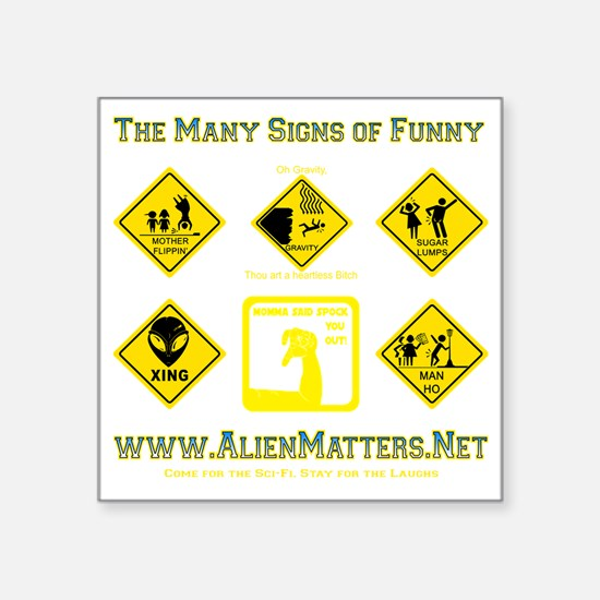 "Many-Signs Square Sticker 3"" x 3"""