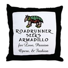 Roadrunner Seeks Armadillo Throw Pillow