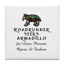Roadrunner Seeks Armadillo Tile Coaster