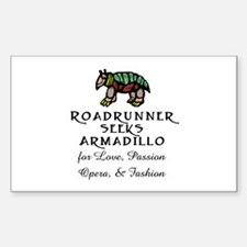 Roadrunner Seeks Armadillo Rectangle Decal