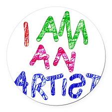 I am an artist light Round Car Magnet