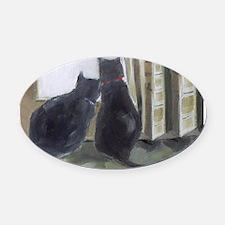 Black Cats Oval Car Magnet