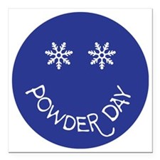 "powder day face Square Car Magnet 3"" x 3"""
