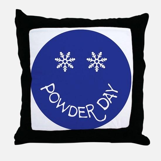 powder day face Throw Pillow