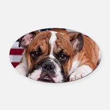 Patriot Bulldog Oval Car Magnet