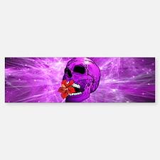 Purple Sugar Skull with Hibiscus Flower Bumper Sti