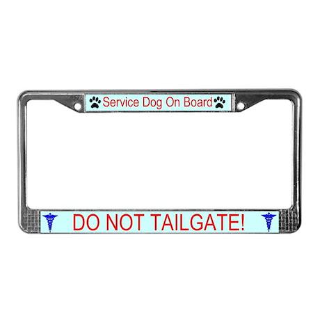 Service Dog On Board License Plate Frame