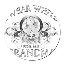 I Wear White for my Grandma (flor Round Car Magnet
