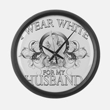 I Wear White for my Husband (flor Large Wall Clock