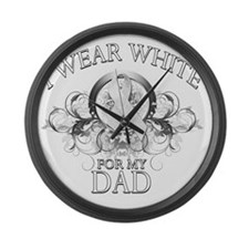 I Wear White for my Dad (floral) Large Wall Clock