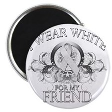 I Wear White for my Friend (floral) Magnet