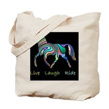 horse rainbow_horselarge live love laughd Tote Bag