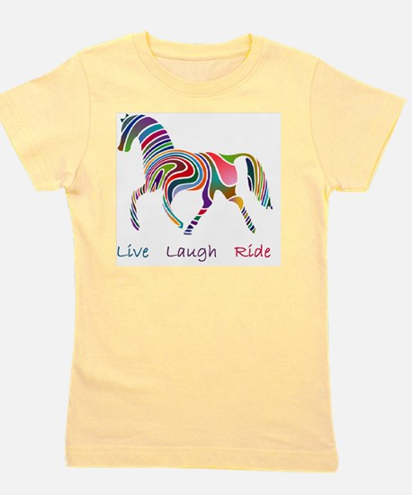 horse rainbow_horselarge live love laug Girl's Tee