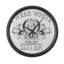 I Wear White for my Sister (flora Large Wall Clock