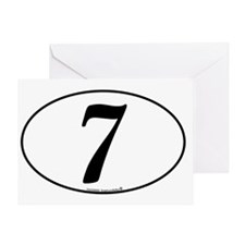 racing-numbers-classic-white-oval-7 Greeting Card