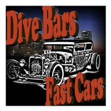 "Fast Cars Square Car Magnet 3"" x 3"""