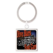 Fast Cars Square Keychain