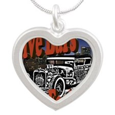 Fast Cars Silver Heart Necklace
