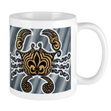 Funky Black and Gold Crab Mugs