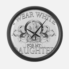 I Wear White for my Daughter (flo Large Wall Clock