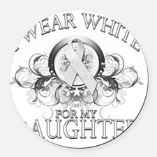 I Wear White for my Daughter (flo Round Car Magnet