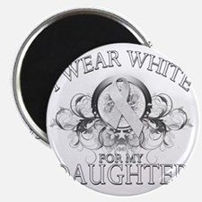 I Wear White for my Daughter (floral) Magnet