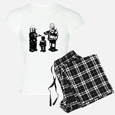 retro robots blk Pajamas