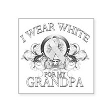 """I Wear White for my Grandpa Square Sticker 3"""" x 3"""""""