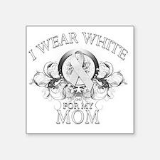 "I Wear White for my Mom (fl Square Sticker 3"" x 3"""
