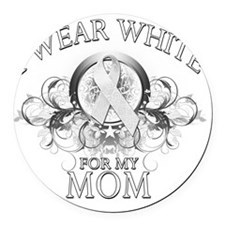 I Wear White for my Mom (floral) Round Car Magnet
