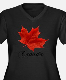 O-Canada-Map Women's Plus Size Dark V-Neck T-Shirt