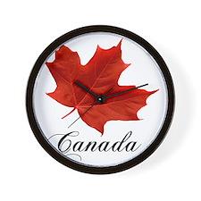 O-Canada-MapleLeaf-Ottawa-4-blackLetter Wall Clock