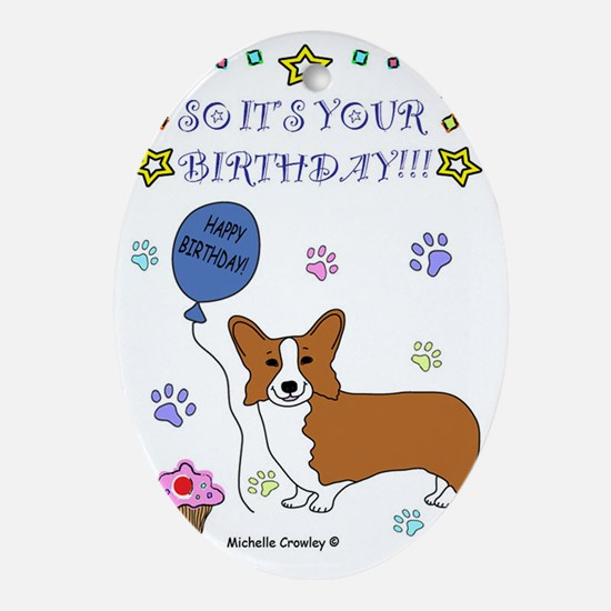 CorgiOrange Oval Ornament