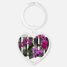 Bars and orchids Heart Keychain