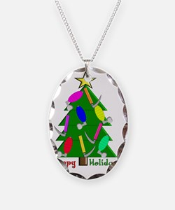 RT Happy Holidays Christmas Necklace Oval Charm