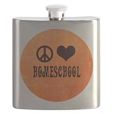 Peace Love Homeschool Orange Flask