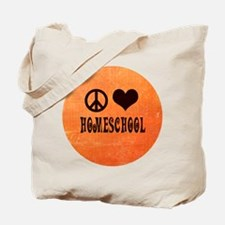 Peace Love Homeschool Orange Tote Bag