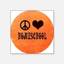 "Peace Love Homeschool Orang Square Sticker 3"" x 3"""